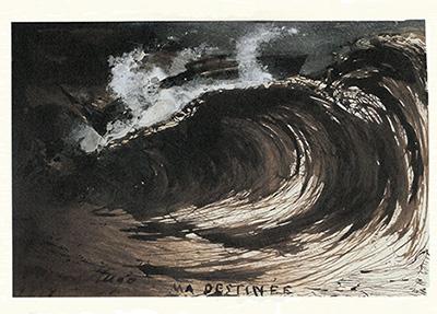 ユゴーの作品「私の運命」(1857) 大波に翻弄される船に、自分の運命をたとえた象徴的な作品。