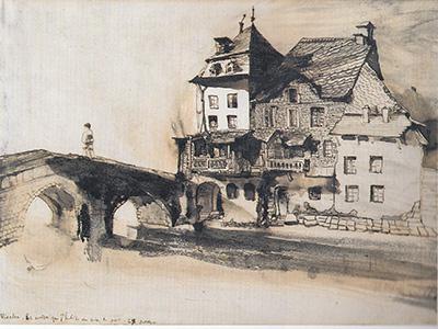 ユゴーの作品「橋のそばの家」(1871)