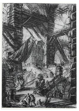 18世紀イタリアの版画家、建築家ピラネージが描いた牢獄図のエッチング。 ユゴーの着想源のひとつだったと思われる。